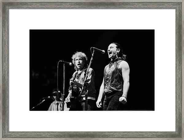 Bob Dylan Performs With U2 In Concert Framed Print by George Rose