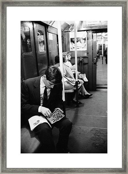 Bobby Fischer On The Subway Framed Print