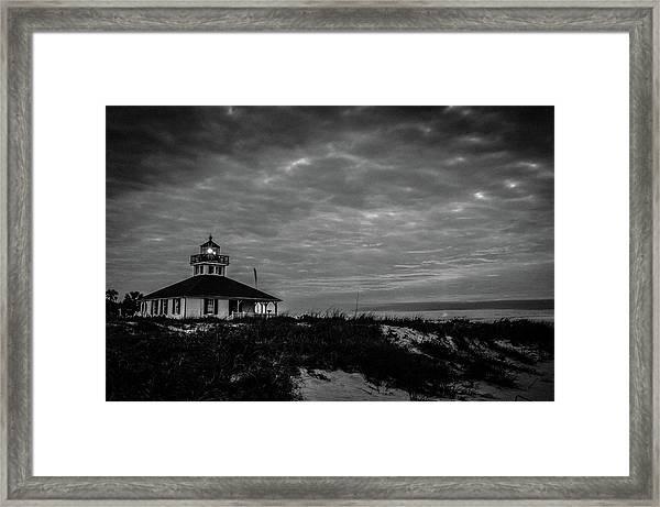 Boca Grande Lighthouse Black And White Framed Print