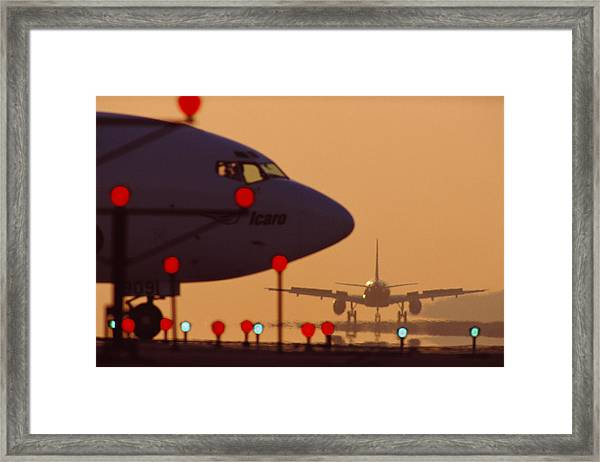 Boeing 727 Nose In Silhouette At Framed Print