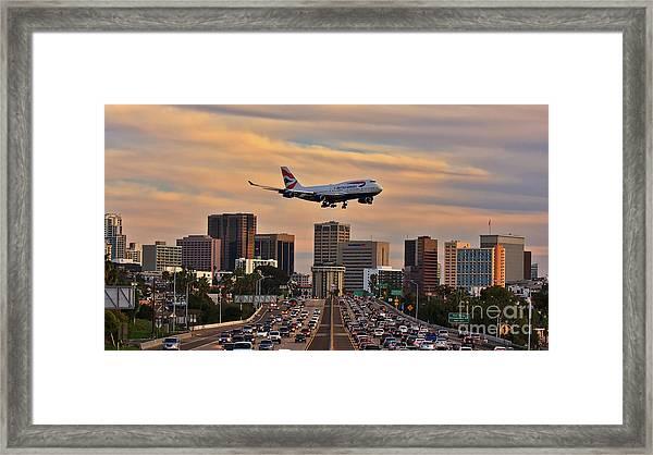 Boeing 747 Landing In San Diego Framed Print
