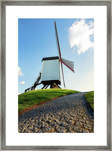 Bonne Chiere Windmill Bruges Belgium Framed Print