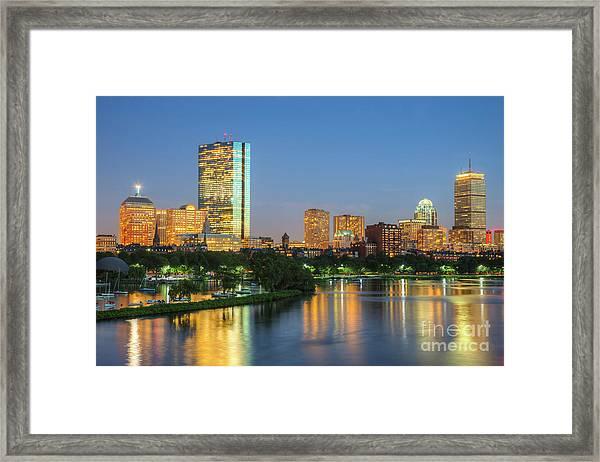 Boston Night Skyline II Framed Print