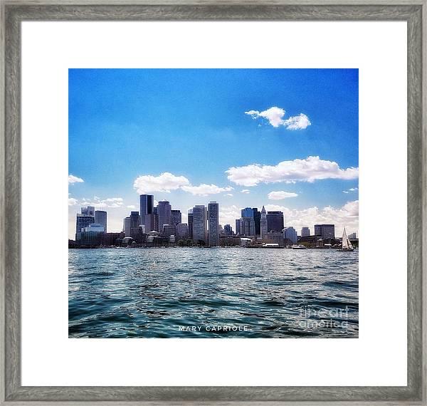 Boston Skyline From Boston Harbor  Framed Print