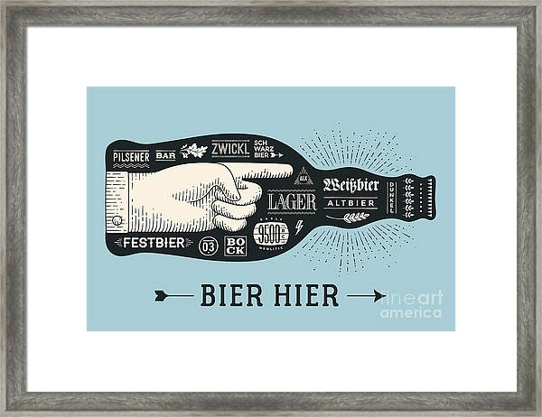 Bottle Of Beer With Hand Drawn Framed Print