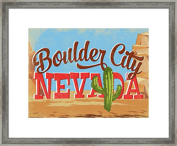 Boulder City Nevada Cartoon Desert Framed Print