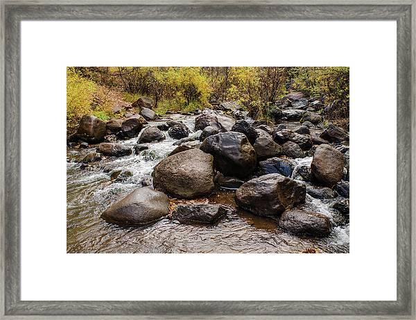 Boulders In Creek Framed Print