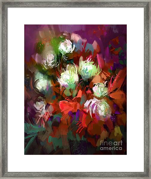 Bouquet Of Colorful Flowers,digital Framed Print