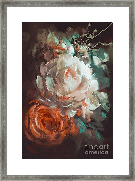 Bouquet Of Roses With Oil Painting Framed Print