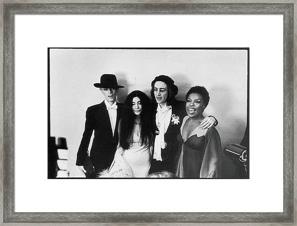 Bowie, Ono, Lennon, & Flack At The Framed Print by Fred W. McDarrah