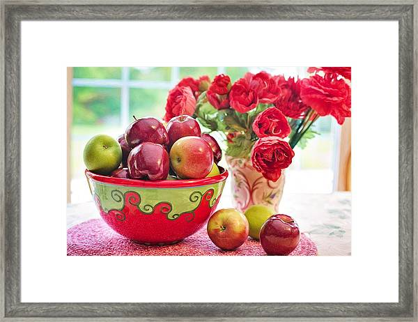 Bowl Of Red Apples Framed Print
