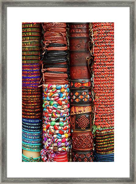 Bracelets At Shop In Witches Market, La Framed Print