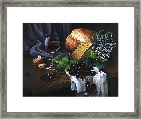 Framed Print featuring the painting Bread And Wine by Clint Hansen