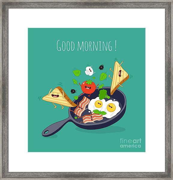 Breakfast Poster. Fried Eggs With Bacon Framed Print