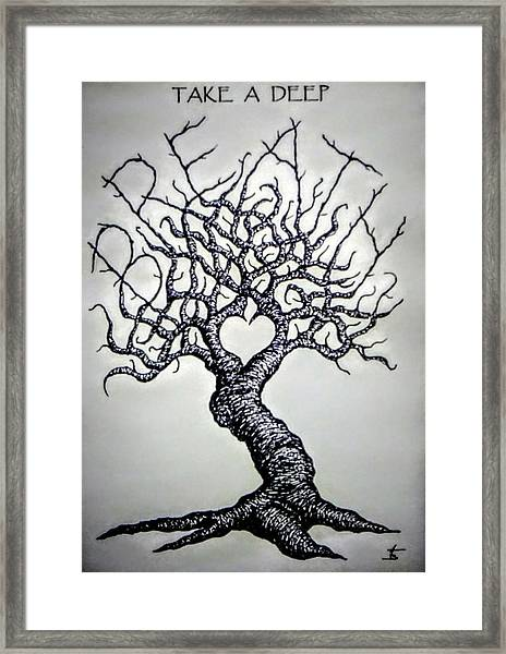 Framed Print featuring the drawing Breathe Love Tree - Blk/wht by Aaron Bombalicki