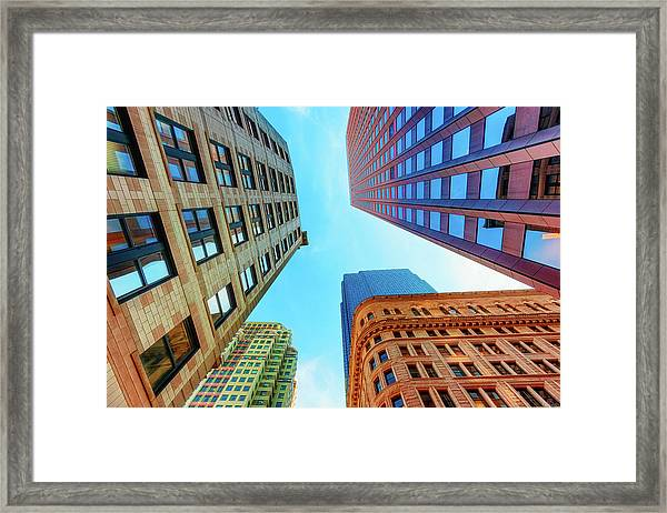 Framed Print featuring the photograph Brick And Mortar Skyward by Dee Browning