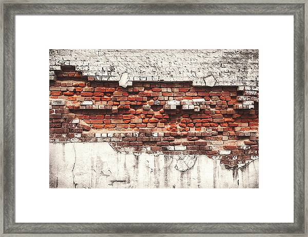 Brick Wall Falling Apart Framed Print by Ty Alexander Photography