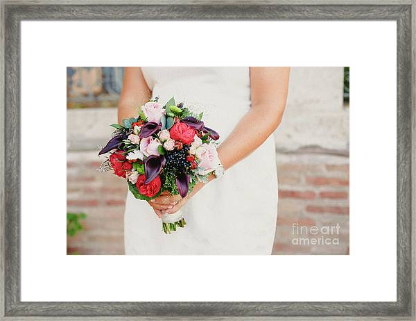 Bridal Bouquet Held By Her With Her Hands At Her Wedding Framed Print