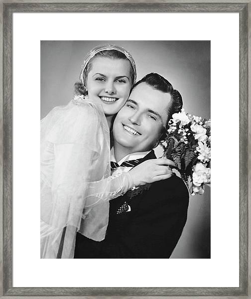 Bride And Groom, Portrait Framed Print