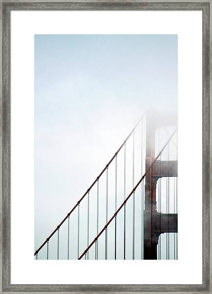 Bridge In Fog Framed Print by By Ken Ilio