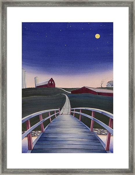 Framed Print featuring the painting Bridge Over Buck Creek II by Scott Kirby