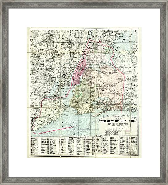 Bridgmans New Map Of The City Of New Framed Print