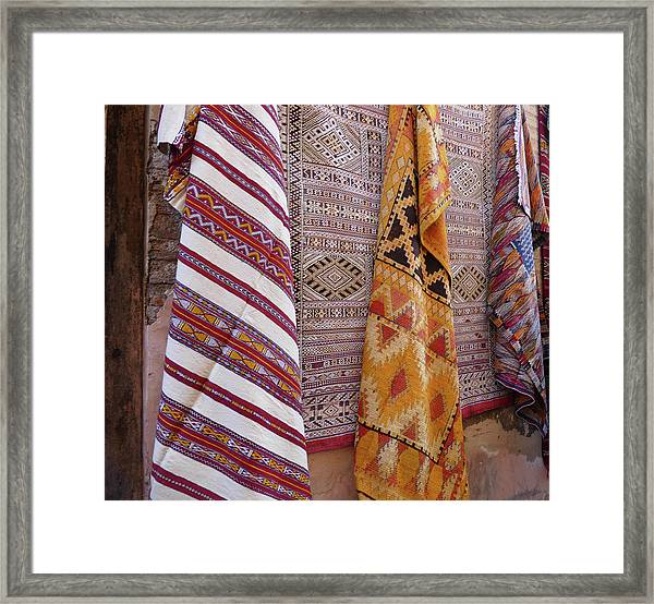 Bright Colored Patterns On Throw Rugs In The Medina Bazaar  Framed Print