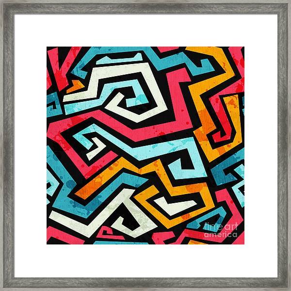 Bright Graffiti Seamless Pattern With Framed Print by Gudinny