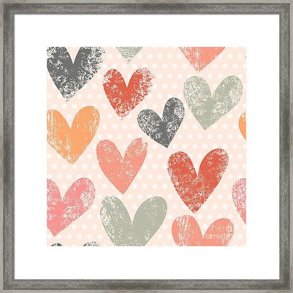 Bright Romantic Seamless Pattern Made Framed Print