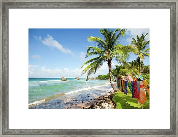 Bright Tranquil Beach In Barbados Framed Print