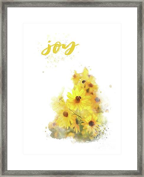 Bright Watercolor Print, Floral Wall Art, Joy Framed Print