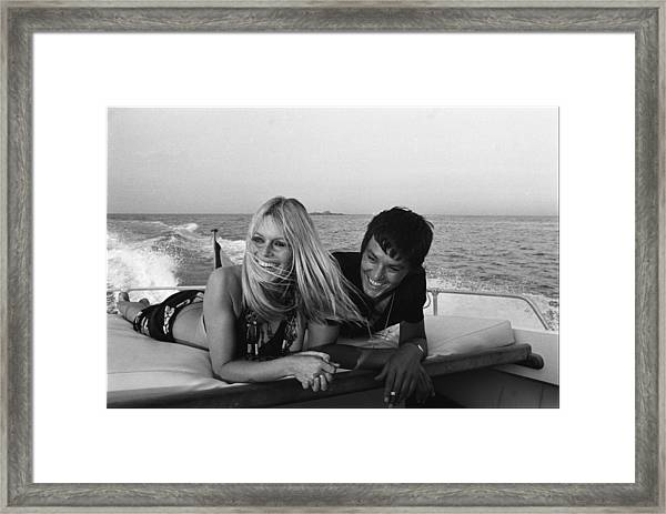 Brigitte Bardot In Saint Tropez, France Framed Print by Jean-pierre Bonnotte