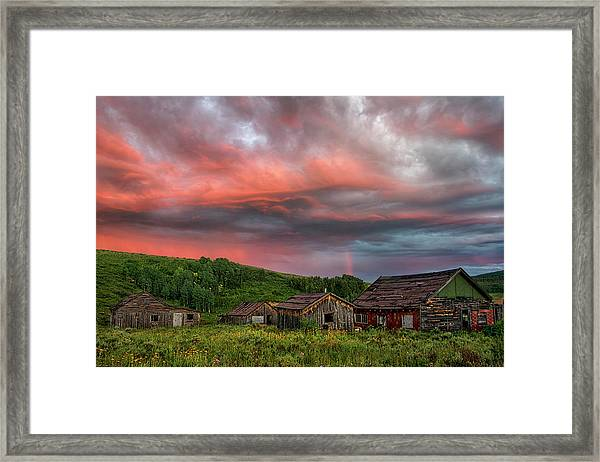 Brilliant Skies Over A Ghost Town Near Steamboat Springs Colorado Framed Print