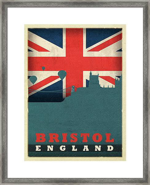 Bristol England World City Flag Skyline Framed Print