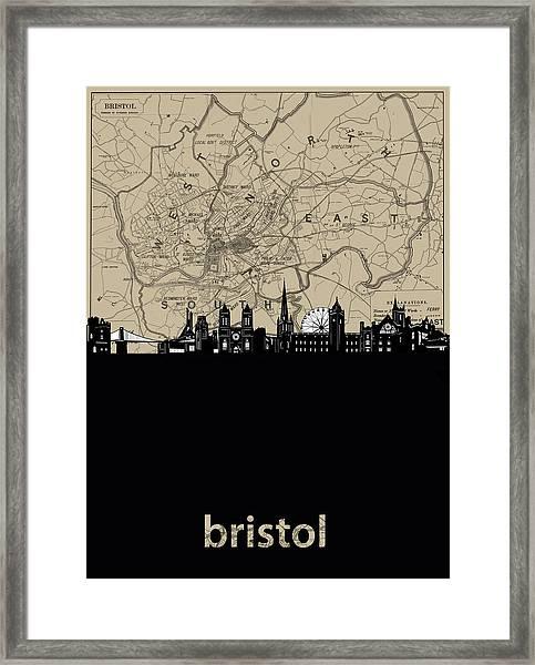Bristol Skyline Map Framed Print