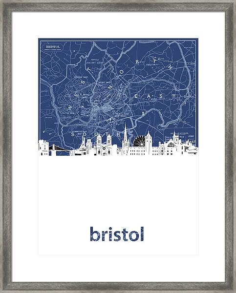 Bristol Skyline Map Blue Framed Print