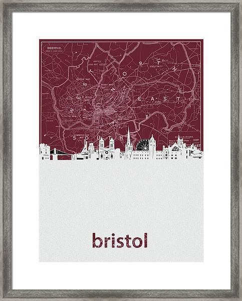 Bristol Skyline Map Red Framed Print