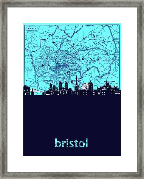 Bristol Skyline Map Turquoise Framed Print