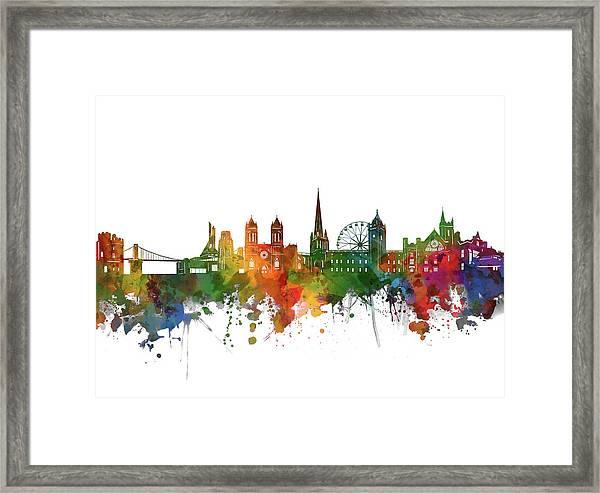 Bristol Skyline Watercolor 2 Framed Print