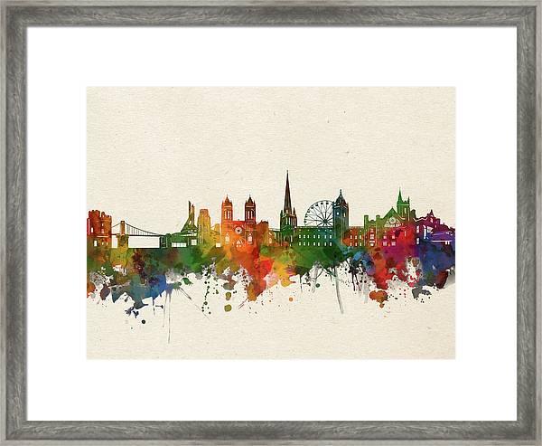 Bristol Skyline Watercolor Framed Print