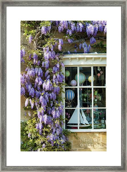 Broadway Shop And Wisteria In The Cotswolds Framed Print
