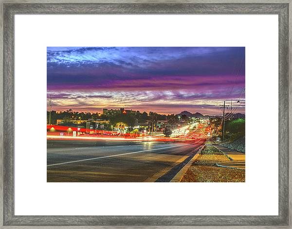 Broadway Sunset, Tucson, Az Framed Print
