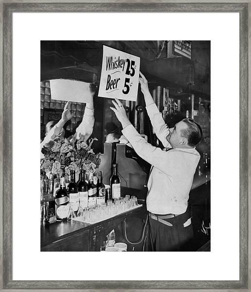 Bronx Bartender Maurice Moriarty Puts Framed Print