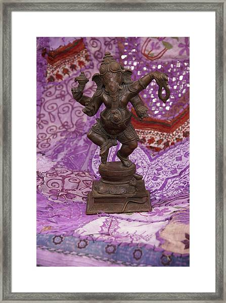 Bronze Ganesha Dancing, On Purple Framed Print