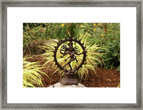Bronze Shiva In Garden Framed Print