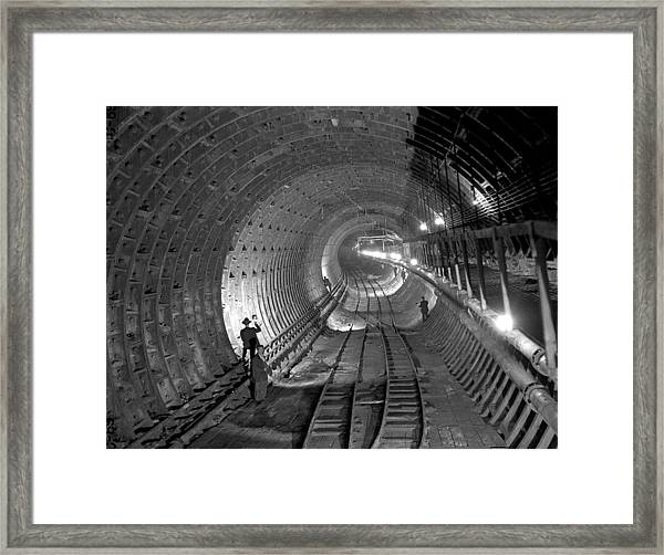 Brooklyn Battery Tunnel Under Framed Print by New York Daily News Archive