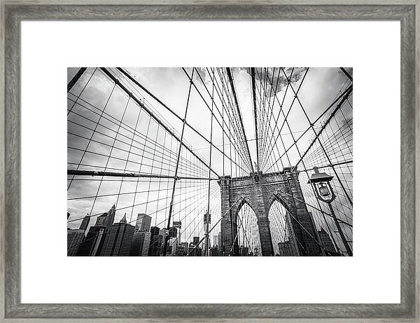 Brooklyn Bridge And New York Skyline Framed Print