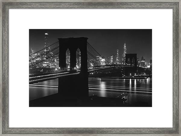Brooklyn Bridge At Night Against Framed Print