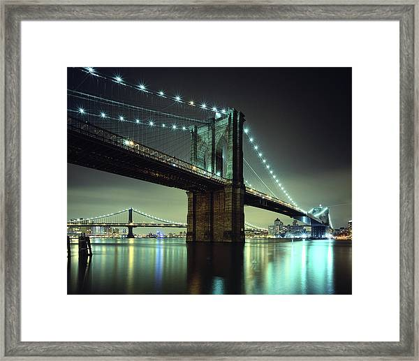 Brooklyn Bridge At Night, New York City Framed Print by Andrew C Mace