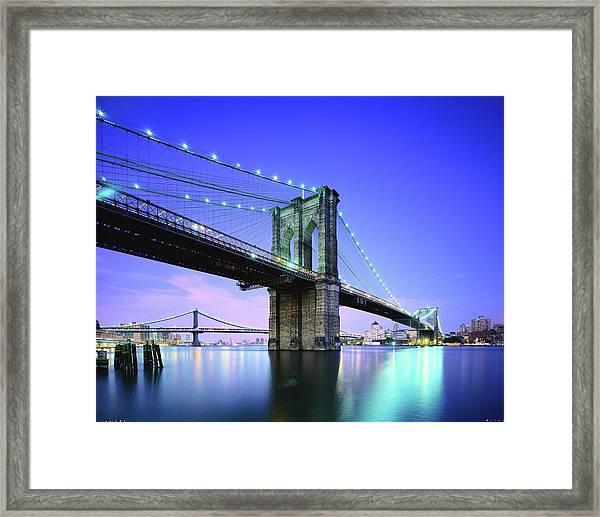Brooklyn Bridge At Twilight, New York Framed Print
